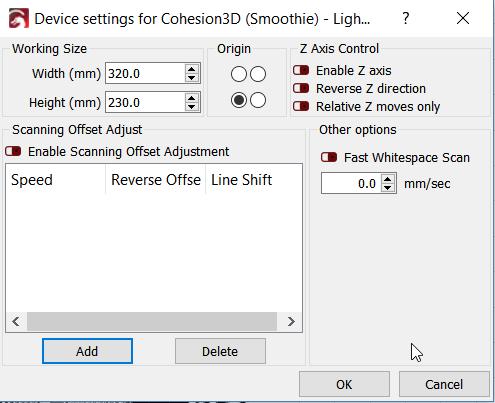 Lightburn not firing laser, but Gcode commands yes - Board