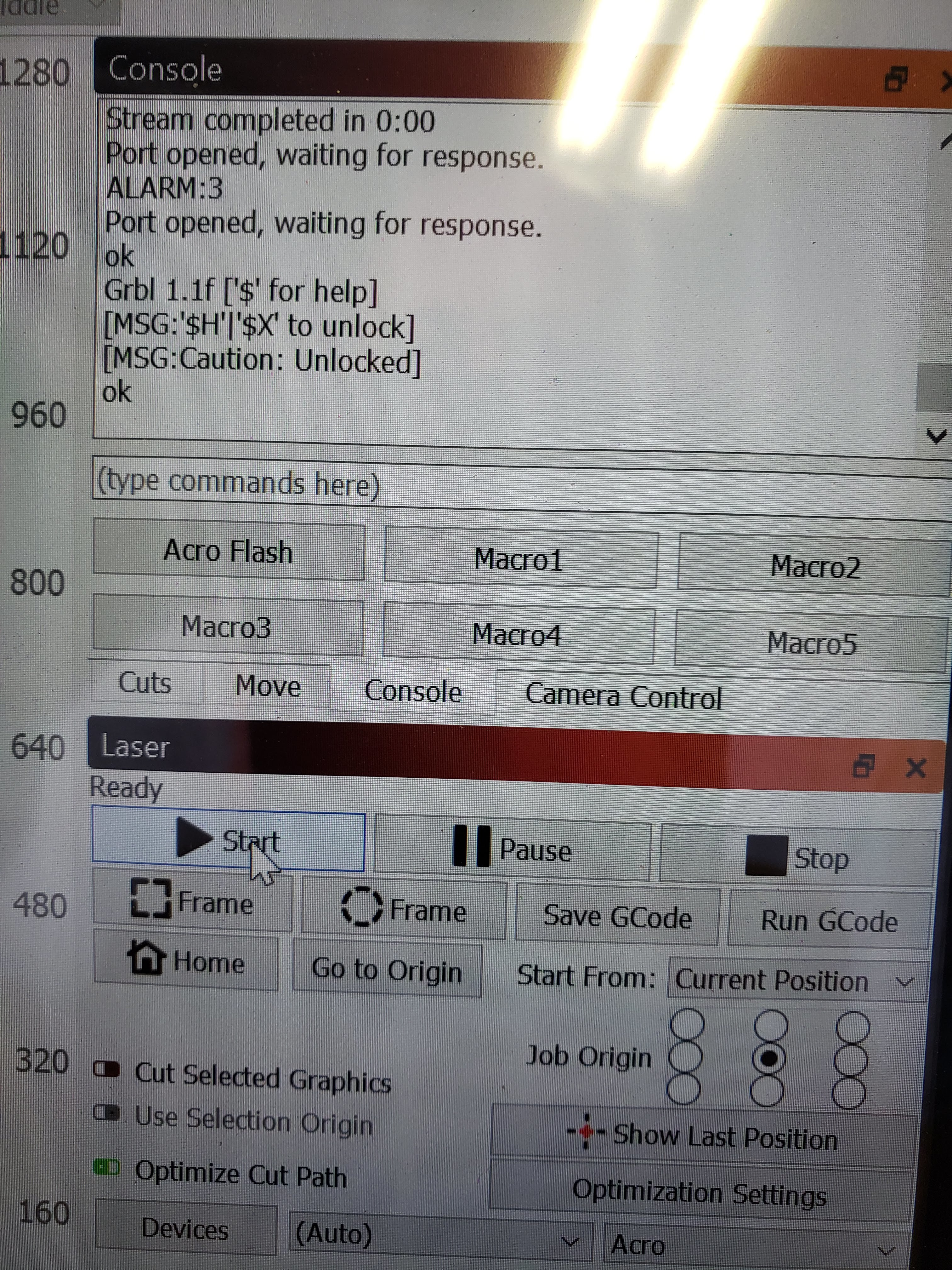 Alarm 3 in Lightburn in the middle of job - Board Configuration and